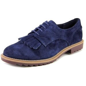 Clarks Griffin Mabel Navy Suede Kiltie Oxfords